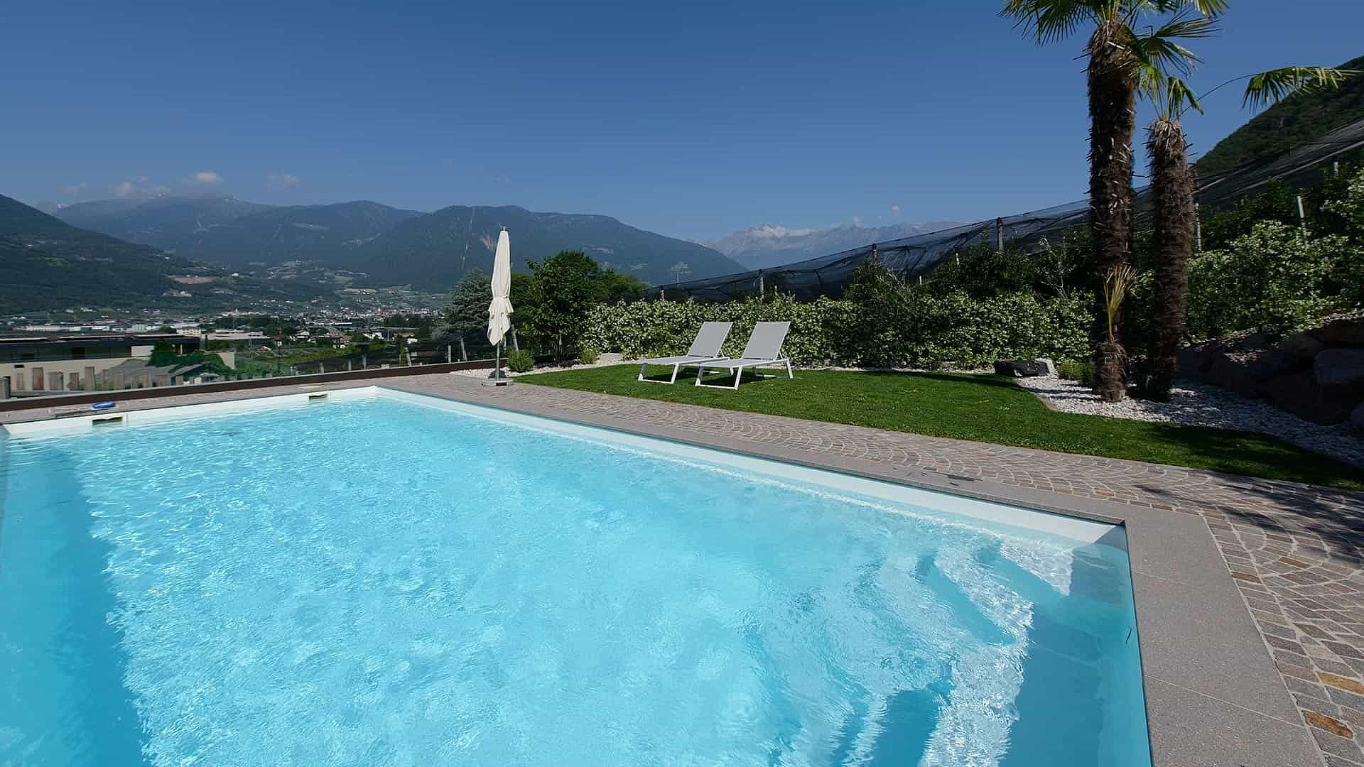 Panoramic swimming pool with salt water